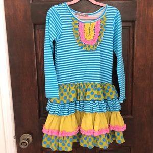 Kids girls turquoise print Jelly the Pug dress